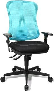 Topstar HE20PBC06 Head Point SY - Silla de Escritorio de Oficina, con reposabrazos, Asiento Negro, Respaldo de Malla Azul Aqua