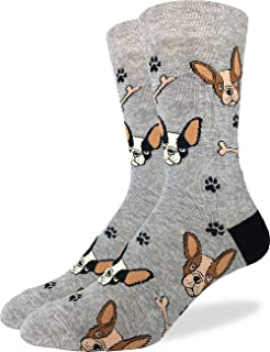 Men's French Bulldog Socks - Grey, Adult Shoe Size 7-12