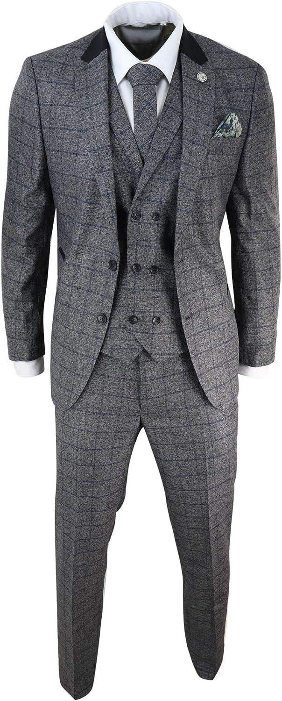 Mens 3 Piece Tweed Suit Grey Blue Check Best Man Groom Fit
