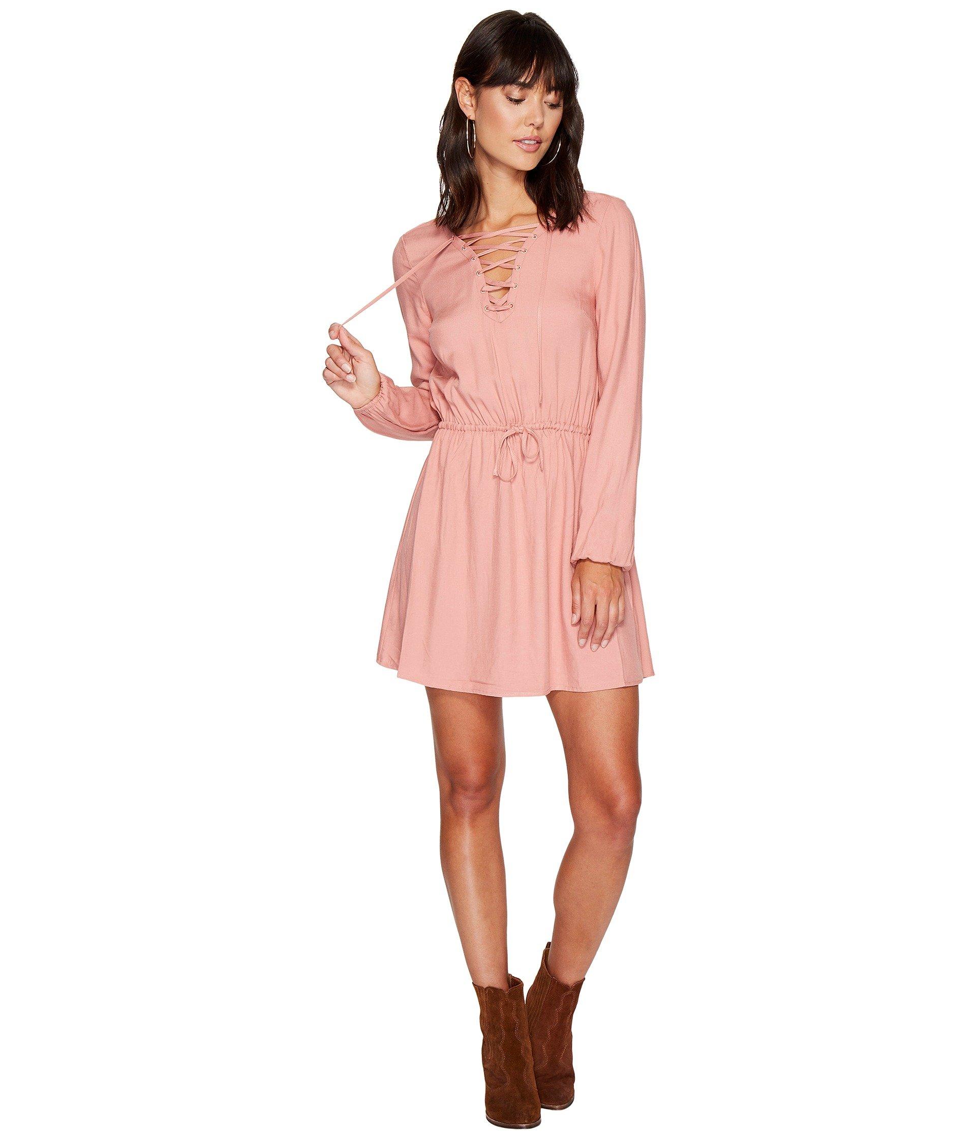 Char Rayon Twill Lace-Up Dress