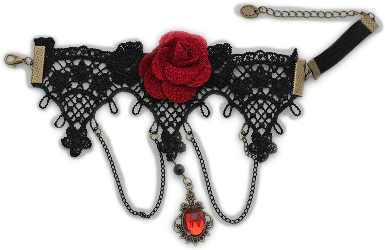 TFJ Women Fashion Jewelry Black Metal Chains High Upper Arm Cuff Bracelet Red Flower Lace Punk