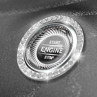 حلقه Bling Car Rahano 2 PCS ، انگشتر دکوراسیون ایستادن موتور اتومبیل Crystal Rhinestone ، روکش دکمه فشار برای شروع ، استارت احتراق کلید