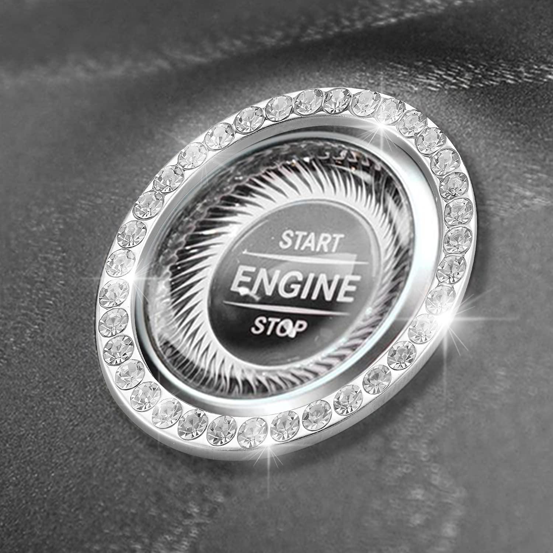 Rahano 2 PCS Car Ranking TOP16 Bling Ring Start Rhinestone Fresno Mall Engine Crystal