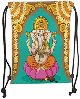 Drawstring Backpacks Bags,Elephant,Elephant Lord in Lotus Flower Yoga Theme Oriental Traditional Asian Festive Design,Multicolor Soft Satin,5 Liter Capacity,Adjustable String Closu