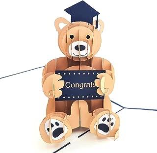 iGifts And Cards Graduation Bear 3D Pop Up Greeting Card – Success, Hard Work, Memories, Congrats, Congratulations - Folds Flat – Graduation, Celebration, School Ends