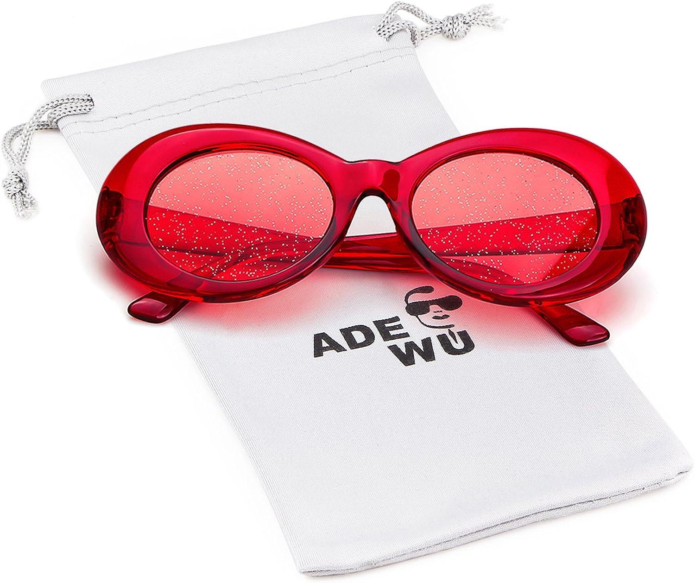 ADEWU Clout Goggles, Lunettes de Soleil Ovales A - Rouge