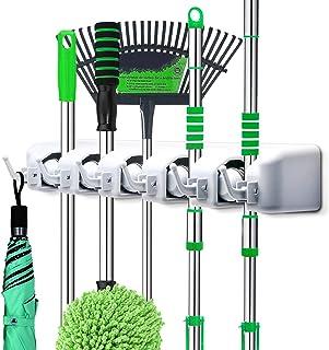 LETMY Broom Holder Wall Mounted - Mop and Broom Hanger Holder - Garage Storage Rack & Garden Tool Organizer - 5 Position 6 Hooks for Home, Kitchen, Garden, Tools, Garage Organizing