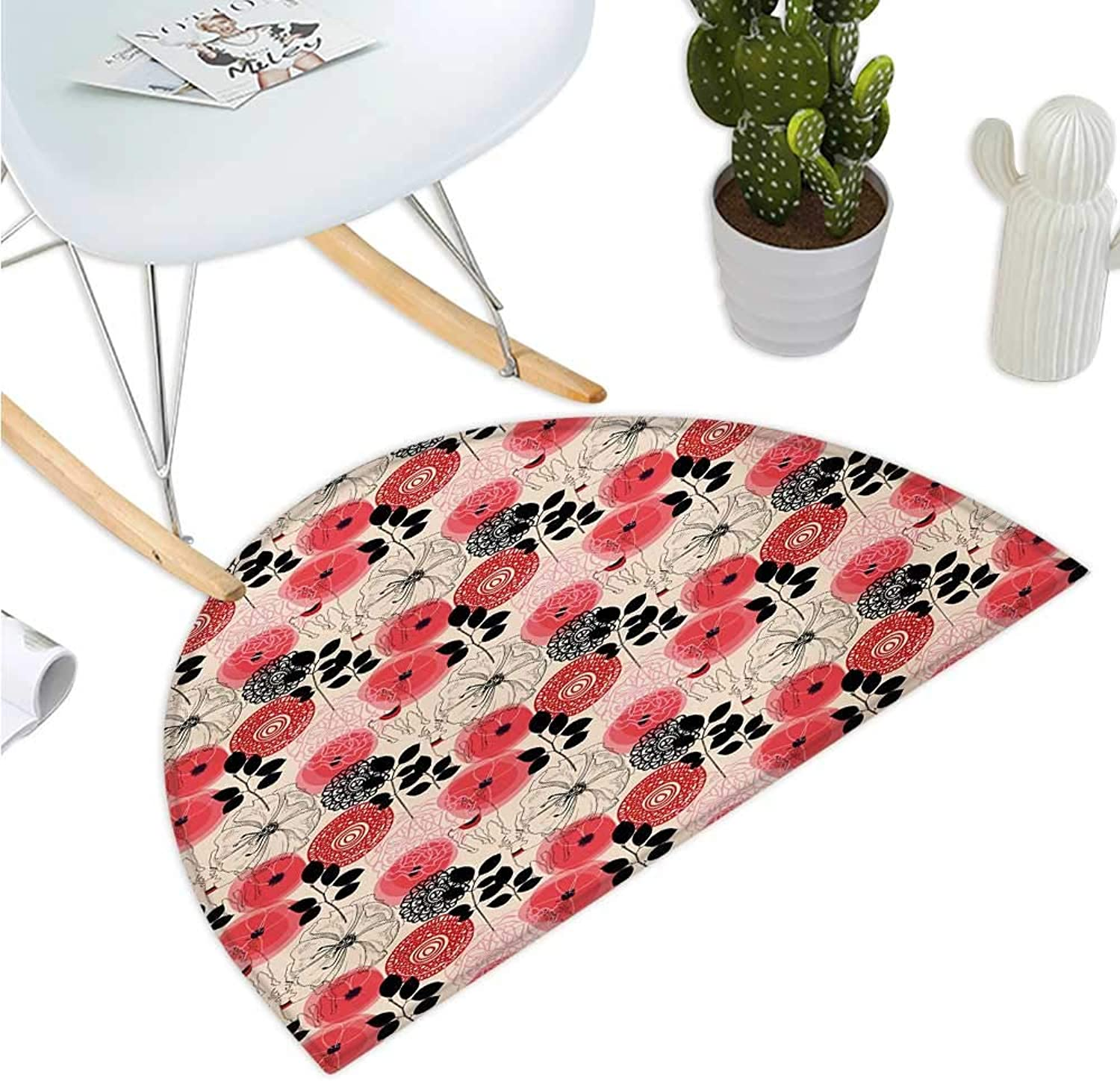 Floral Semicircular Cushion Modern Abstract Big Circled Abstract Flowers Blossoms and Leaves Artwork Print Entry Door Mat H 35.4  xD 53.1  Pink and Black