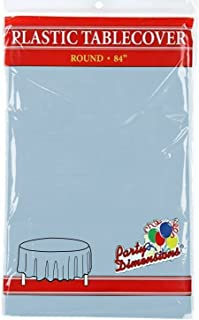 """Light Blue Round Plastic Tablecloth - 4 Pack - Premium Quality Disposable Party Table Covers for Parties and Events - 84""""..."""