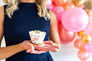 Cupcake Wrappers Pink Floral Gold Cupcake Wraps with Foil Detail for Baby Shower, Bridal Shower, Wedding, Birthday Party Decorative Liners for Cupcakes by Twigs & Twirls (12)