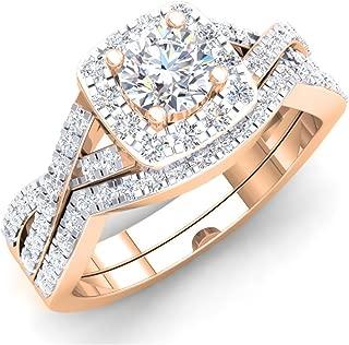 1.80 Carat (ctw) 10K Gold Round Cubic Zirconia CZ Bridal Halo Engagement Ring Set