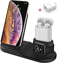Wireless Charger, 3 in 1 Wireless Charging Stand Compatible with Apple Watch iPhone Airpods, Wireless Charging Station Stand for iPhone X/XS/XR/Xs Max/8/8 Plus Apple Watch 4 3 2 1 Airpods 1 2