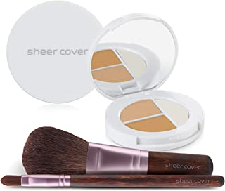 Sheer Cover Studio – Starter Face Kit – Perfect Shade Mineral Foundation – Conceal & Brighten Highlight Trio – with FREE Foundation Brush and Concealer Brush – Medium Shade – 4 Pieces