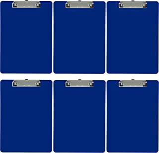 Trade Quest Plastic Clipboard Opaque Color Letter Size Low Profile Clip (Pack of 6) (Dark Blue)