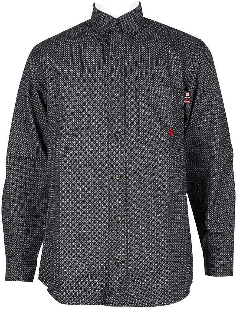 Forge FR Work Shirt Mens L/S Flame Resistant Plaid Button MFRPLDB208