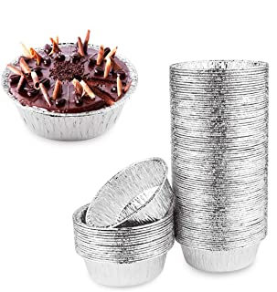 "Oopsu 100 Pack 4"" Round Tart Pie Foil Pans Disposable Pans Aluminum Foil Tart & Pie Tins Pans for Baking,Cooking,Storage o..."