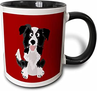 3dRose 218083_4 Funny Border Collie Puppy Dog Art Mug, 11 oz, Black