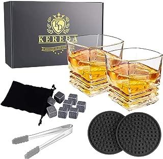 Whiskey Stones Gift Set - 2 Glasses, 8 Granite Scotch Chilling Rocks, 2 Coasters, Tongs, Velvet Pouch in Box Packaging