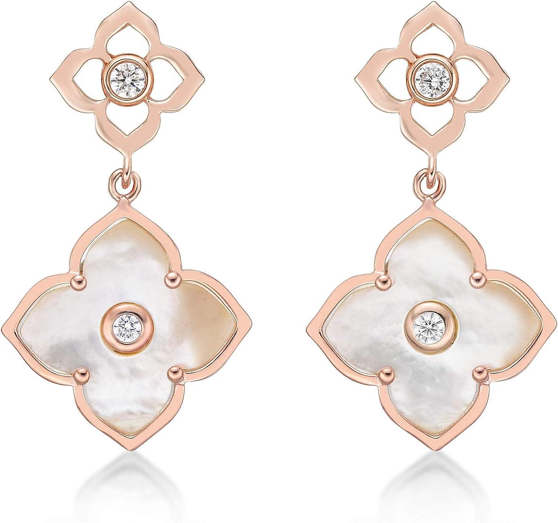 Black Onyx Flower Dangling latest Drop Earrings Sterli Women for 925 Overseas parallel import regular item in
