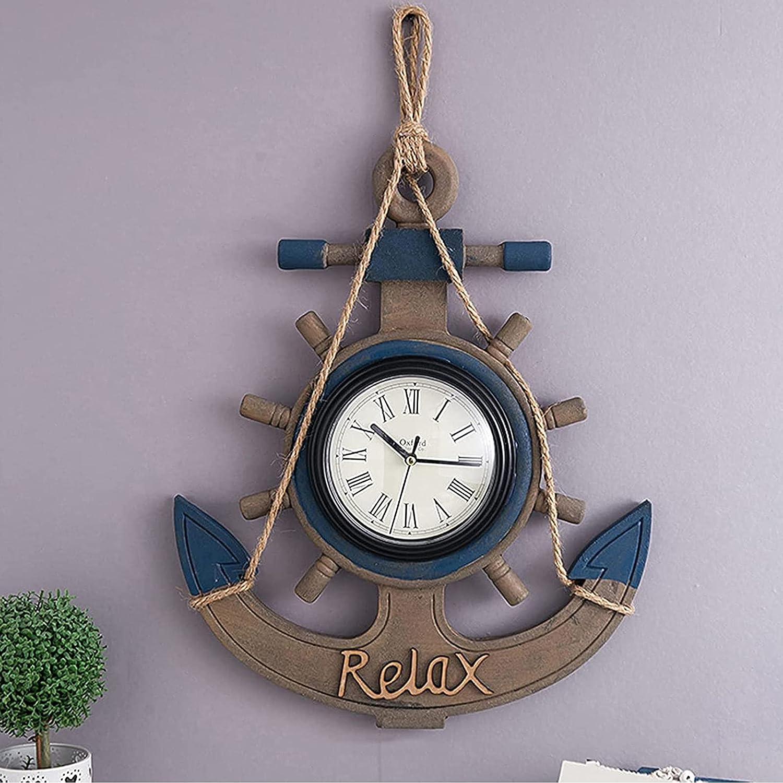 tquuquu Reloj De Pared para Jardín Al Aire Libre, Reloj De Pared con Ancla De Barco De Madera Vintage Estilo Mediterráneo Reloj Grande para Mar Reloj De Pared Exterior Decoración Náutica Silenciosa