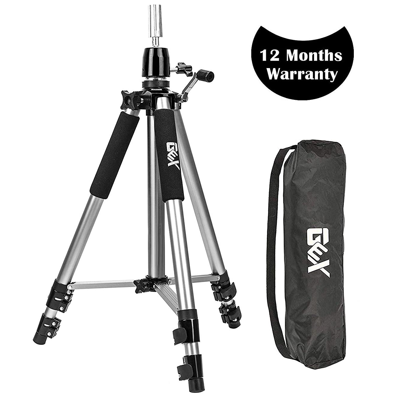 GEX Heavy Duty Canvas Block Head Tripod Cosmetology Training Doll Head Stand Mannequin Manikin Head Tripod Wig Stand With Travel Bag Silver Color