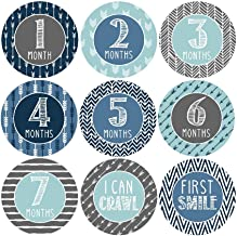 16 Blue Teal Baby Boy Milestone Stickers, 12 Monthly Photo Picture Props For Infant Onesie, Chalk New Born 1st Year Birth Month Belly Decals, Scrapbook Memory Registry Gift, Best Shower Basket Present
