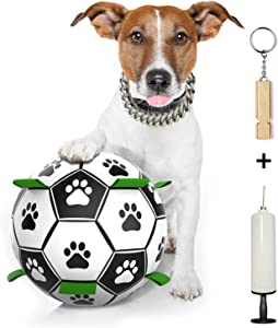 ROMEKER Dog Soccer Ball,Dog Ball Toy for Small Medium Dogs Indoor Outdoor,Interactive Dog Toys Puzzle IQ Treat Ball,Water Floating Soccer Ball Toy for Pool Beach Grassland Home 6