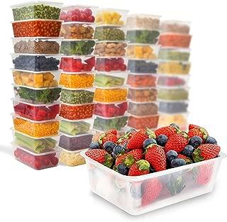 Zuvo 50x Rectangular 1000ml microondas recipientes de plástico transparente de congelación tomar alimentos fríos calientes, 170 (W) x 120 (L) x 70 (H)mm