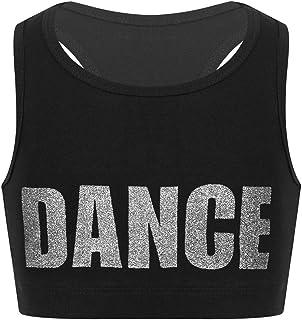 ranrann Tank Top de Yoga Danza para Niñas Chaleco Corto de Baile Moderno Estampado de Letra Sujetador Deportivo de Running...