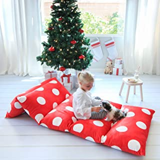 Butterfly Craze Kid's Floor Pillow Bed Cover - Use as Nap Mat, Portable Toddler Bed Alternative for Sleepovers, Travel, Napping, or as a Lounger for Reading, Playing. Cover Only!