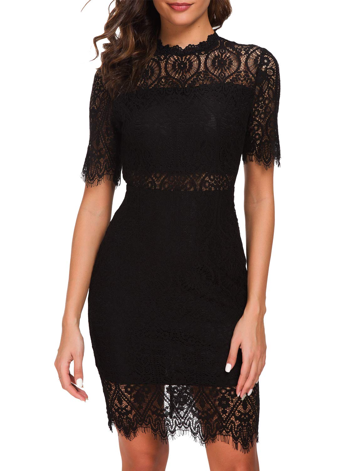 Party Dresses - Women's Elegant High Neck Short Sleeves Lace Cocktail Party Dress