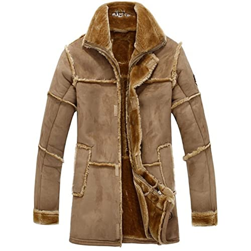 4c25eab883c YYZYY Men s Winter Thick Warm Vintage Suede Sheepskin Jacket Faux Fur  Leather Jacket Cashmere Shearling Long