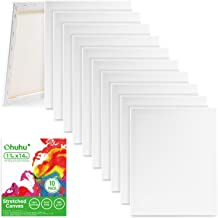 Ohuhu Stretched Canvas 10 Pack, 11x14 Inch Painting Canvas Boards, Professional Primed White Blank- 100% Cotton Artist Can...