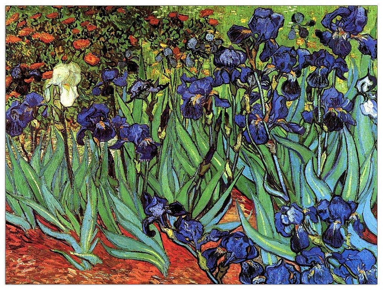 ArtPlaza TW91096 Van Gogh Vincent - Irises Decorative Panel 35.5x27.5 Inch Multicolored