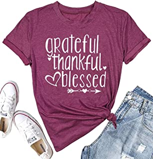 Women Thanksgiving Shirt Grateful Thankful Blessed Arrow Letter Printed Casual O-Neck T-Shirt Tee
