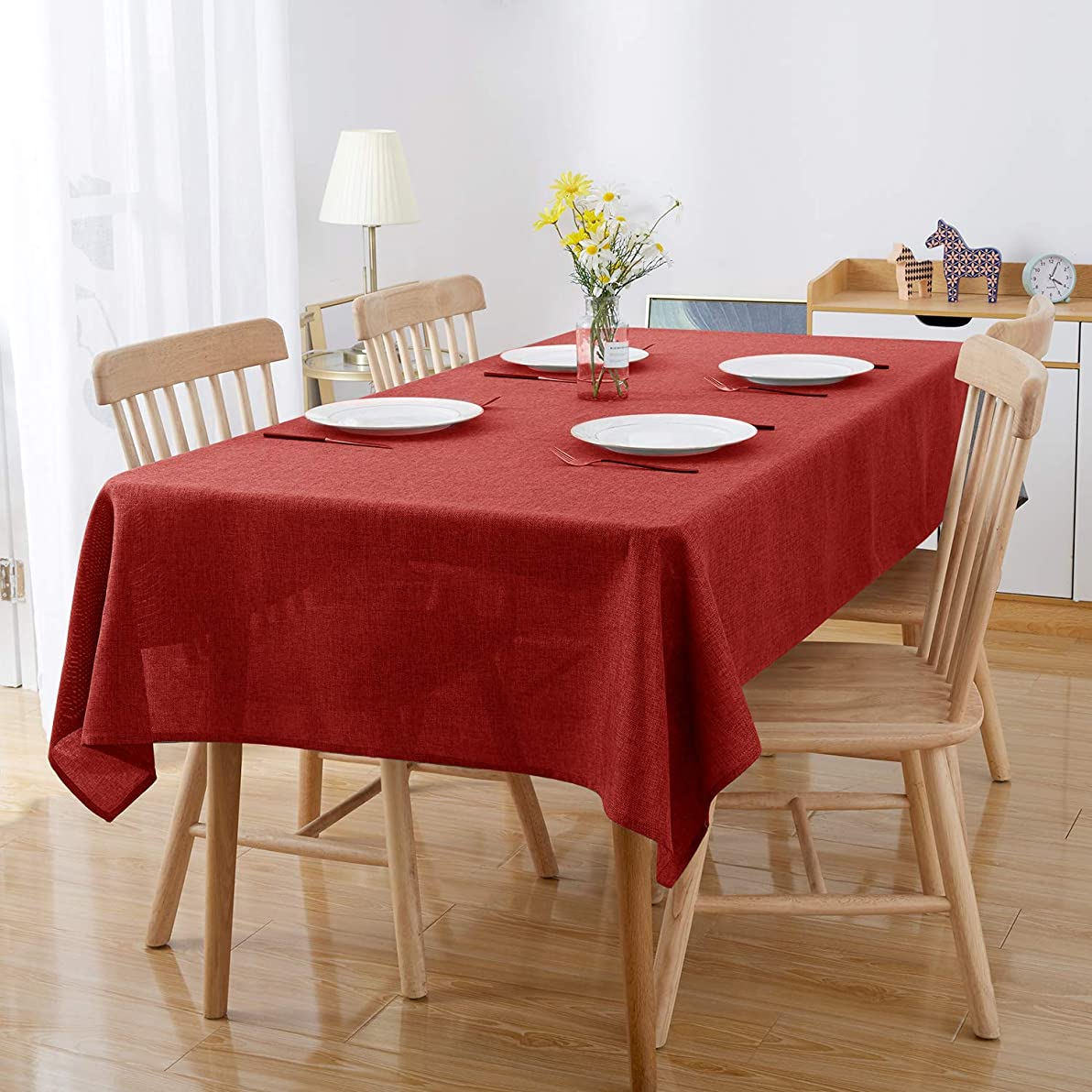 Deconovo テーブルクロス 撥水 汚れ防止 厚手 りんネット 北欧 無地 長方形 全6色 140x180CM レッド
