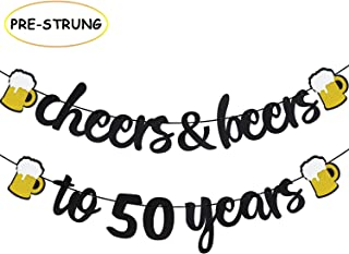Joymee Cheers & Beers to 50 Years Black Glitter Banner for 50th Birthday Wedding Aniversary Party Supplies Decorations - PRESTRUNG
