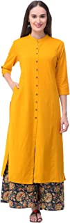 Pistaa Women's Cotton Solid Kurta With Palazzo Bottom Set (KWTPRNTPZOMX)