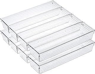 Kingrol 10 Pack Clear Drawer Organizer Trays, 12 x 3 x 2 Inch Desk Drawer Divider Storage Bins, Storage Box Set for Kitche...