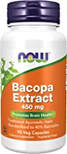 NOW Supplements, Bacopa Extract 450 mg, 90 Veg Capsules