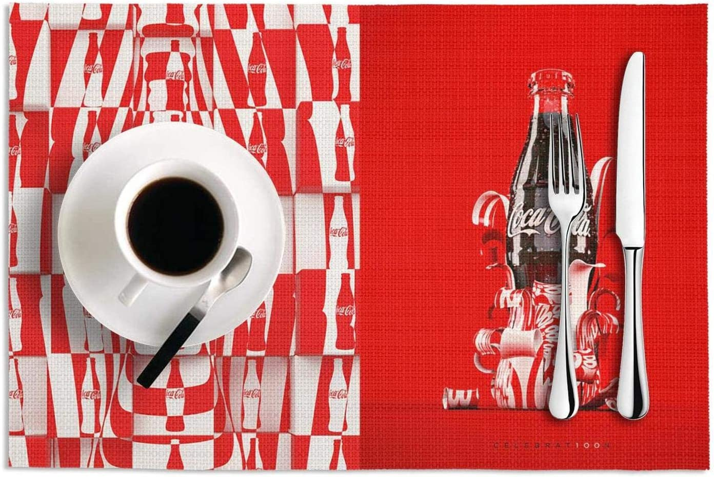 Easy To Clean Placemats Heat-Resistant Placemats Stain Resistant Anti-Skid Washable 25-Creative-CocaCola-Ads- PVC Table Mats,Set Of 2