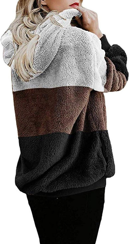 TICOOK Damen Winter Warm Fleece Jacke Kapuze Sweatshirt Reißverschlusstaschen Farbblock Mantel Plus Size Outwear Weiß-5