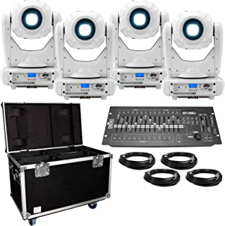 (4) American DJ Focus Spot Three Z Pearl 100W LED Moving Head Spot Lights with Road Case & DMX Controller Package