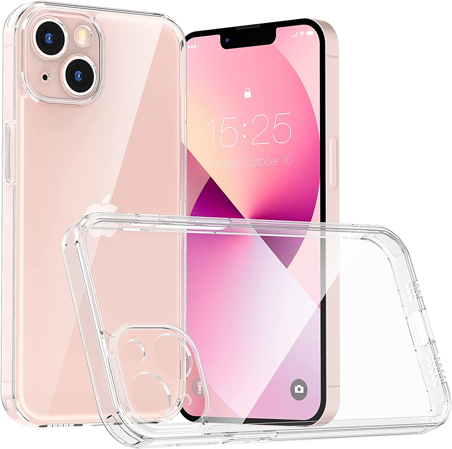 MILPROX Compatible for iPhone 13 Mini Clear Case (2021), Crystal Transparent Cover Slim Shockproof Protective Bumper Phone shell with Camera Lens Protection for iPhone 13 Mini【2 Cameras】-Clear Precise