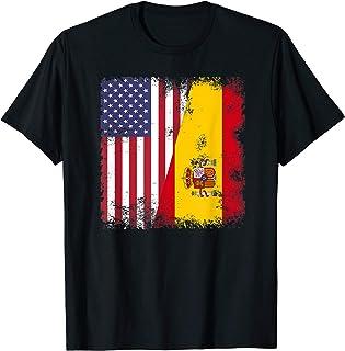 Half Spaniard Spanish Flag T-Shirt | Vintage Spain USA Gift