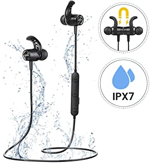 Mpow Auriculares Bluetooth 5.0, S10 IPX7 Deportivos Inalámbrico Magnético In Ear Estéreo CVC 6.0 Micrófono con Cancelación de Ruido para Deportes, Oficina en Casa, Trabajo