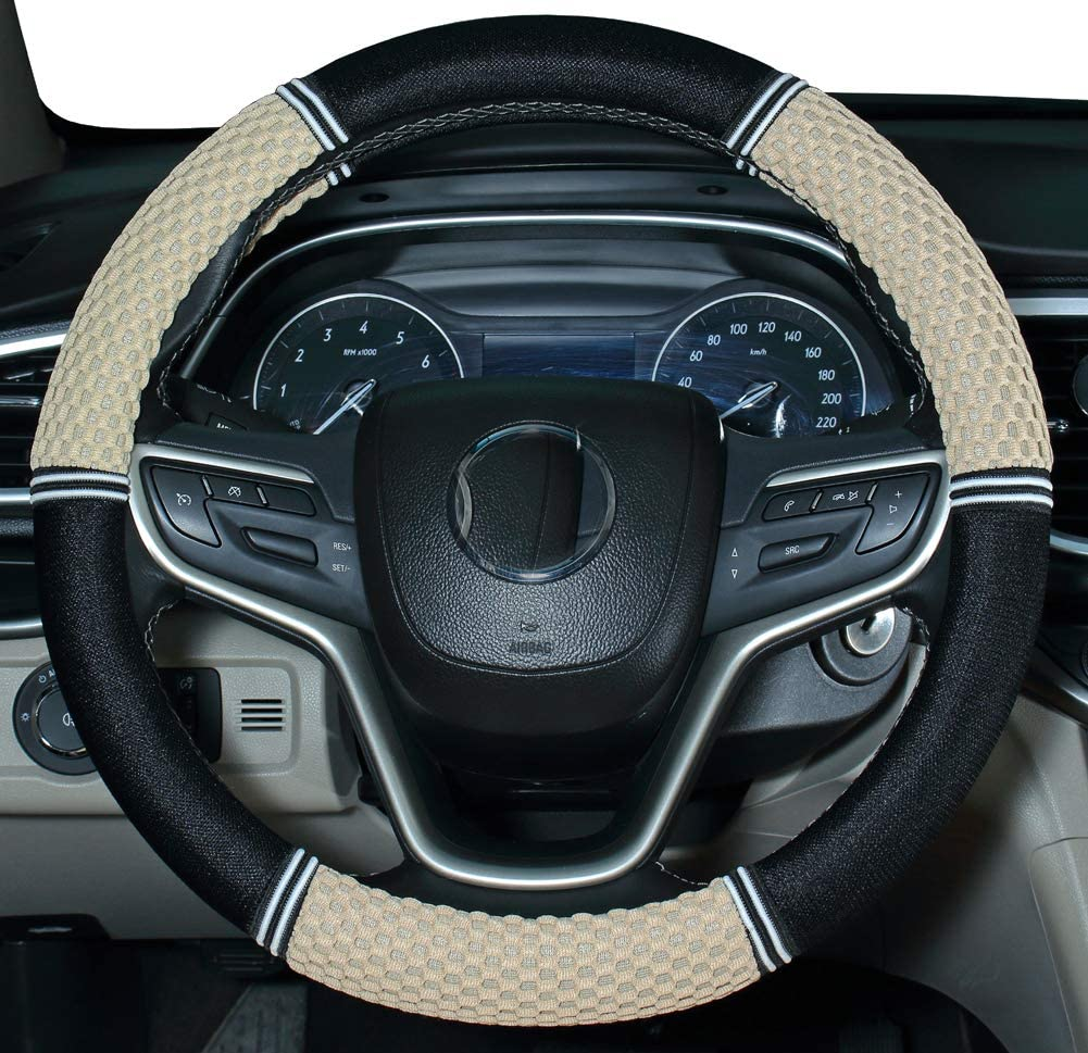Amuahua Needle Steering Wheel Covers Universal 15 inch with Soft Fiber Leather Braid for Car Truck SUV red