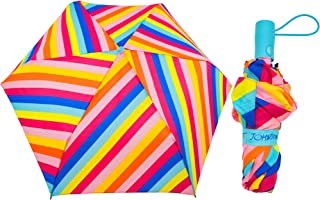 Betsey Johnson Designer Travel Umbrella (Retro Rainbow Stripe)