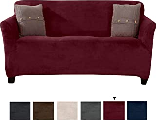 Original Velvet Plush Stretch Sofa Slipcover. Strapless Sofa Cover, Furniture Protector for Couch, Soft Anti-Slip, High Stretch for 3 Seat Sofa. (Sofa, Zinfandel Red)