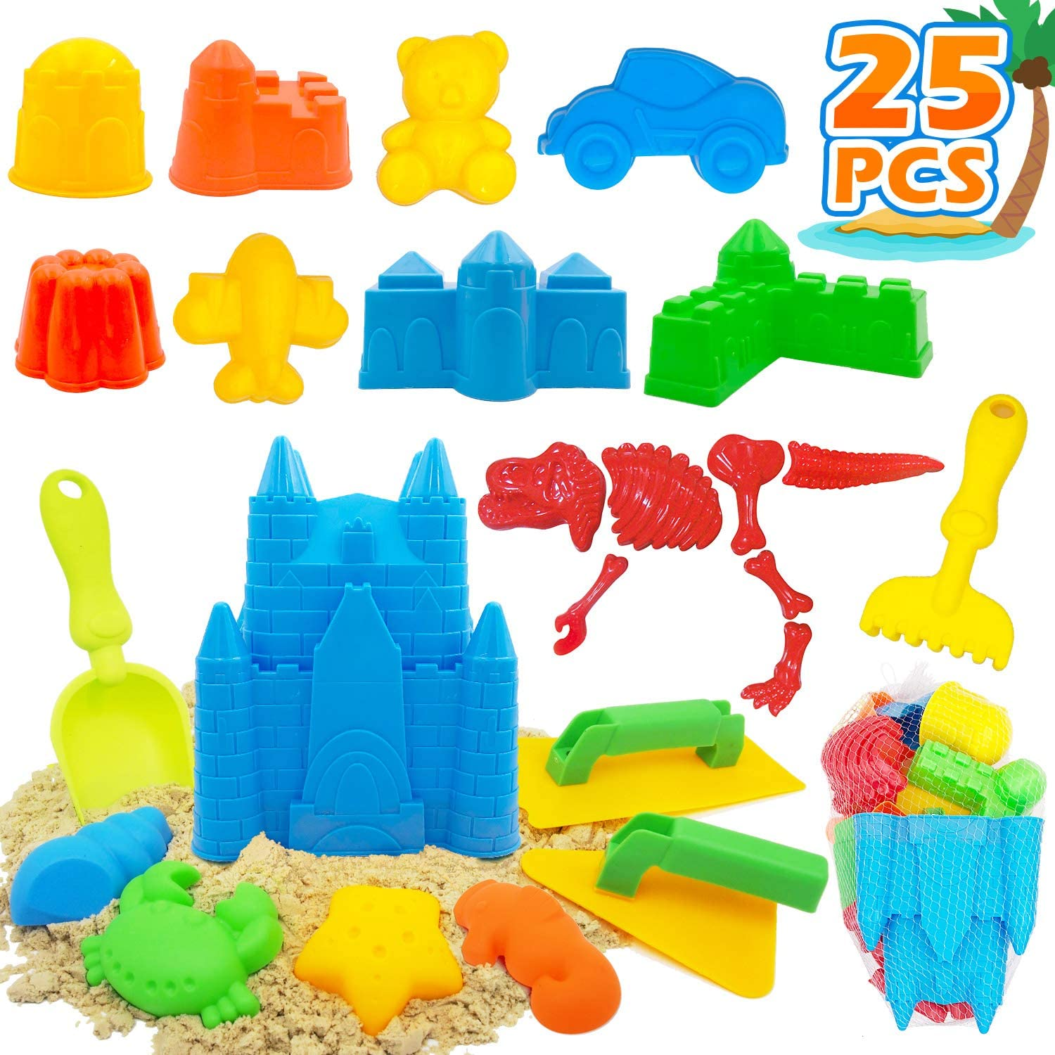 Raleigh Mall 25 Pcs Kids Beach Fashionable Sand Castle Set Includes Toys Buck